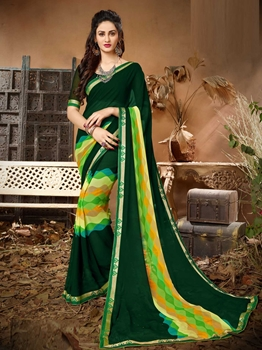 Picture of Green Georgette Lace Regular Saree