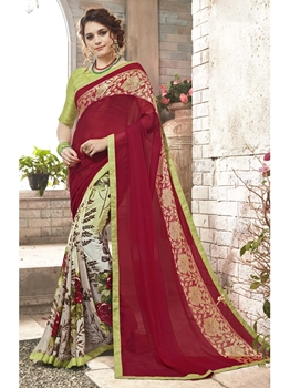 Picture of Pink Georgette Printed Regular Saree