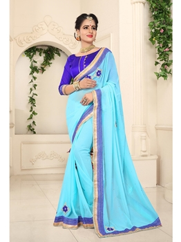 Picture of Blue Georgette Lace Casual Designer Saree