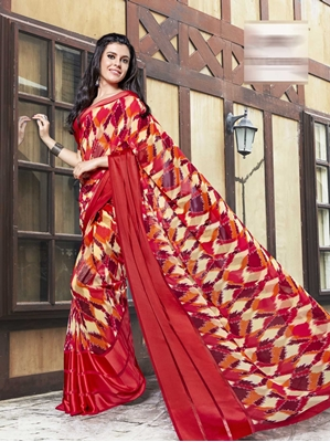Picture of Red Georgette Printed Casual Saree