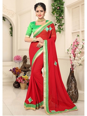Picture of Red Georgette Lace Casual Designer Saree