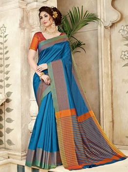 Picture of Blue Silk Printed Regular Saree
