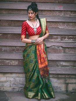 Picture of Green Silk Printed Regular Saree