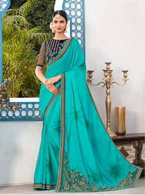 Picture of Green Georgette Stone Casual Saree