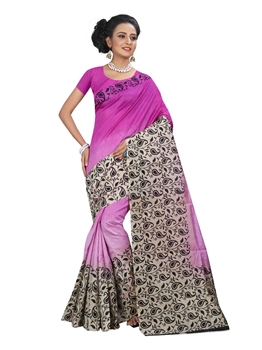 Picture of Pink Silk Printed Saree Saree