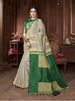 Picture of Grey Art Silk Zari Regular Saree