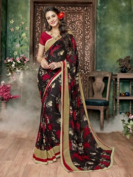 Picture of Black Georgette Printed Regular Saree