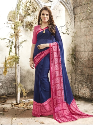 Picture of Blue Georgette Printed Regular Saree