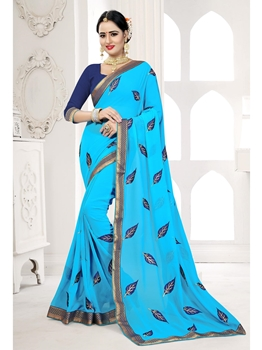 Picture of Blue Georgette Embroidery Casual Designer Saree