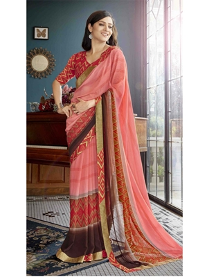 Picture of Peach Georgette Printed Casual Saree