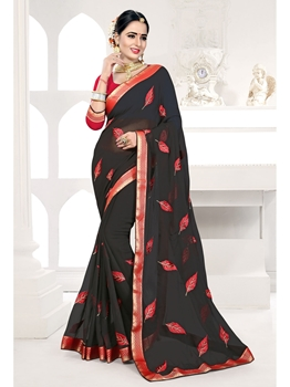 Picture of Black Georgette Embroidery Casual Designer Saree