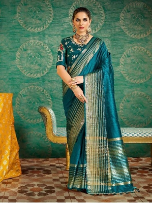 Picture of Blue Silk Zari Casual Saree