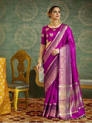 Picture of Purple Silk Zari Casual Saree