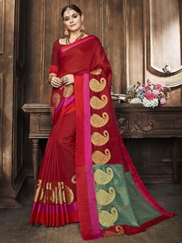 Picture of Maroon Cotton Zari Regular Saree