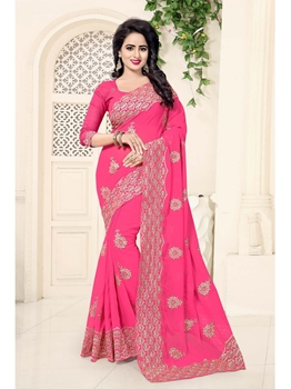 Picture of Pink Georgette Zardosi Casual Saree