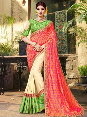 Picture of Pink Jacquard Embroidery Wedding & Bridal Designer Saree