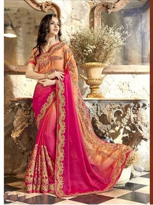 Picture of Pink Chiffon Lace Casual Saree