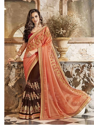 Picture of Brown Georgette Lace Casual Saree