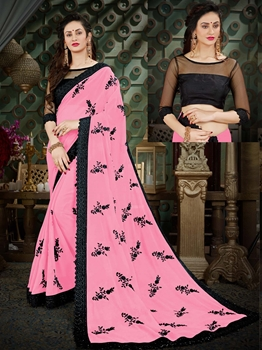 Picture of Pink Georgette Embroidery Wedding & Bridal Designer Saree