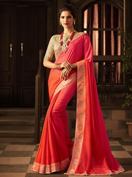 Picture of Orange Silk Lace Wedding & Bridal Designer Saree