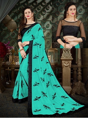 Picture of Green Georgette Embroidery Wedding & Bridal Designer Saree