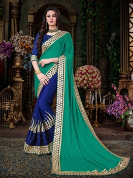 Picture of Blue Georgette Multi Wedding & Bridal Designer Saree