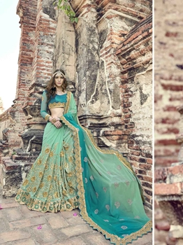 Picture of Green Georgette Multi Casual Saree