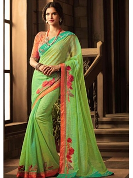 Picture of Green Silk Lace Wedding & Bridal Designer Saree