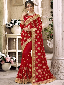 Picture of Red Georgette Lace Wedding & Bridal Designer Saree