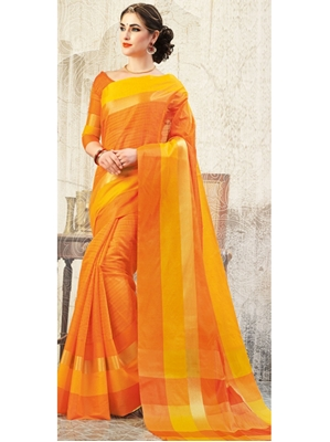 Picture of Yellow Cotton Thread Wedding & Bridal Designer Saree
