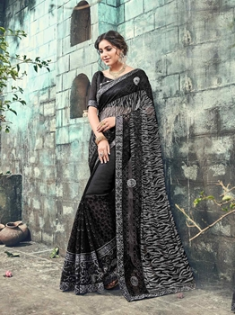 Picture of Black Net Embroidery Ceremony Designer Saree