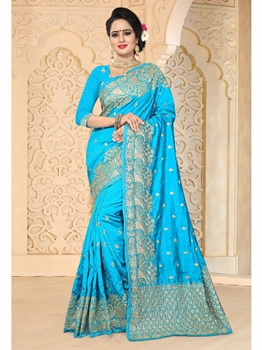 Picture of Blue Art Silk Embroidery Ceremony Designer Saree
