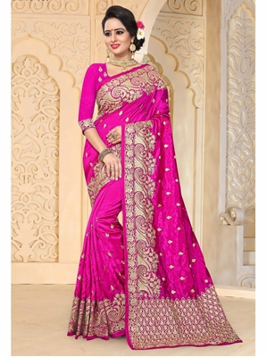 Picture of Pink Art Silk Embroidery Ceremony Designer Saree