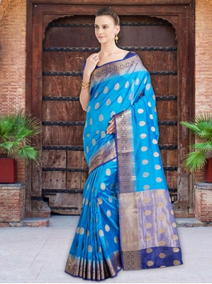 Picture of Blue Silk Thread Designer Saree