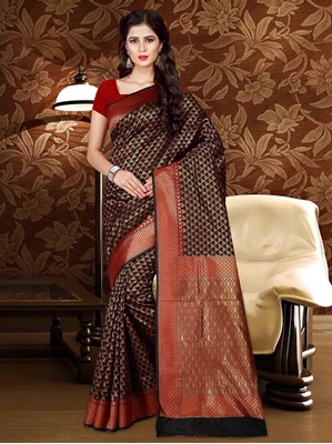 Picture of Black Silk Thread Designer Saree
