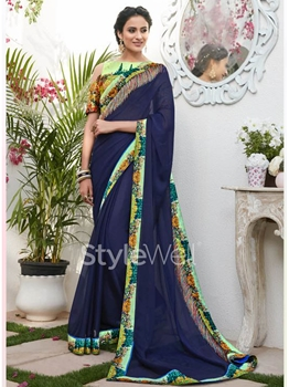 Picture of Blue Chiffon Lace Designer Saree