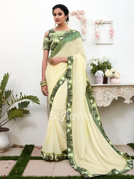 Picture of Off White Chiffon Lace Designer Saree