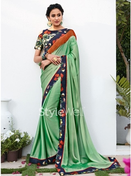Picture of Green Chiffon Lace Designer Saree