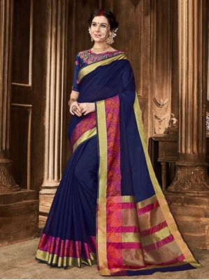 Picture of Blue Art Silk Thread  Designer Saree