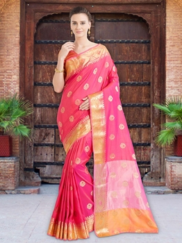 Picture of Pink Silk Thread Designer Saree