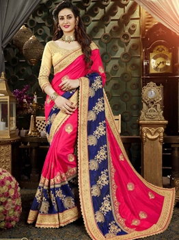 Picture of Multicolor Art Silk Embroidery Designer Saree