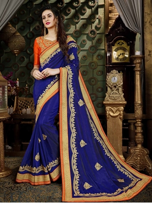 Picture of Blue Art Silk Embroidery Designer Saree