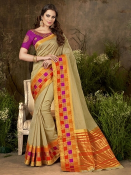 Picture of Gold Silk Thread Designer Saree