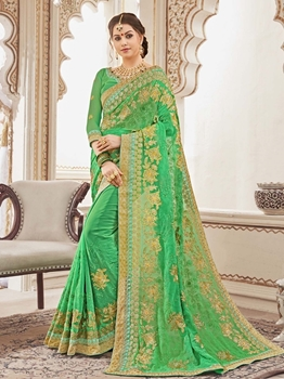 Picture of Green Georgette Stone Designer Saree