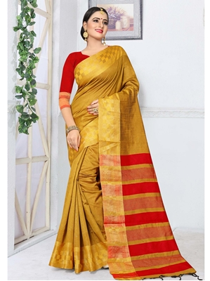 Picture of Yellow Silk Thread Designer Saree