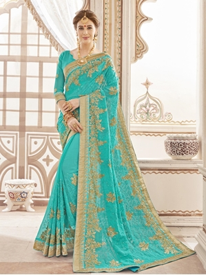 Picture of Blue Georgette Stone Designer Saree