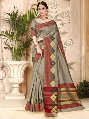 Picture of Grey Art Silk Thread Designer Saree