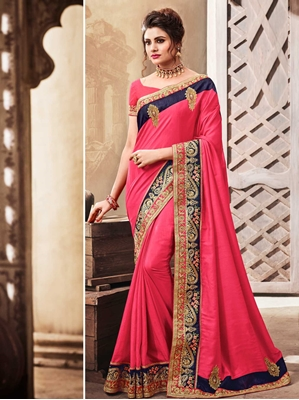 Picture of Pink Georgette Embroidery Designer Saree