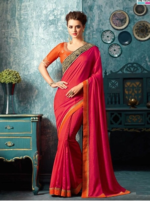 Picture of Red Silk Lace Designer Saree
