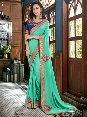 Picture of Green Georgette Lace Designer Saree